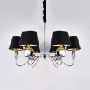 Modern Tapered Shade Hanging Lamp Fabric Metal 6/8/10 Lights Black Chandelier for Living Room