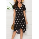 Women's Sexy V-Neck Short Sleeve White Polka Dot Pattern Bow-Yied Waist Midi Black Wrap Dress