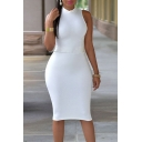Women's Hot Sale Plain Pattern Collared Short Sleeve Cutout Back Midi Pencil Club Dress