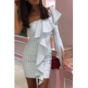 Women's Stripe One Shoulder Split Sleeve Ruffle White Zip Open Back Mini Bodycon Dre