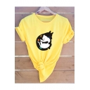 Lovely Cartoon Cat and Dog Printed Short Sleeve Round Neck Cotton T-Shirt