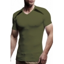 Guys New Stylish V-Neck Short Sleeve Slim Fit Plain T-Shirt