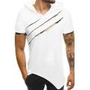 Men's New Stylish Broken Copper Camouflage Short Sleeve Asymmetrical Hem Hooded T-Shirt