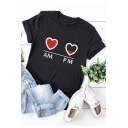 Funny Heart Letter AM and PM Graphic Print Loose Fit Cotton T-Shirt