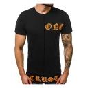 Men's Hot Style Letter Pattern Short Sleeve Round Neck Summer T-Shirt