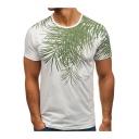 Summer New Stylish Tropical Leaf Pattern Short Sleeve Round Neck Slim Fit T-Shirt for Men