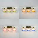 Stained Glass Dome Wall Lamp 3 Lights Tiffany Style Sconce Light in Blue/Green/Pink/Yellow