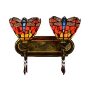 Living Room Dragonfly Sconce Light Stained Glass 2 Lights Tiffany Style Rustic Wall Lamp