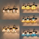 Dome Shade Wall Light 3 Lights Tiffany Style Stained Glass Sconce Light for Living Room Hallway