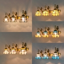 3 Lights Dome Wall Light with Mermaid Decoration Stained Glass Wall Lamp for Bedroom