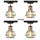 (4 Pack)Antique Style Wire Frame Ceiling Light 1 Light Metal LED Track Light in Black/White for Kitchen