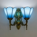 Vintage Style Cone Wall Light Glass 2 Lights Blue Sconce Light for Dining Room Bathroom