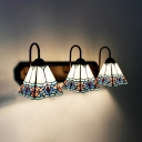 Tiffany Style Cone Wall Light Stained Glass 3 Lights Wall Sconce for Restaurant Living Room