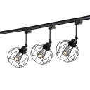 Black/Rust Wire Frame Track Light 1 Light Vintage Metal LED Ceiling Lamp for Restaurant Bar