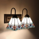 Cone Shade Wall Light 2 Lights Tiffany Style Stained Glass Sconce Light for Bedroom Kitchen