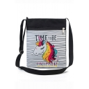 Hot Fashion Unicorn Stripe Letter Printed Black and White Canvas Shoulder Messenger Bag 22.5*27 CM
