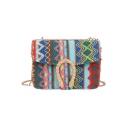 Popular National Style Stripe Geometric Weaved Crossbody Bag 19*6*13.5 CM