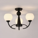 Frosted Glass Globe Semi Flush Mount Light Foyer Hallway 3/6/8 Lights Simple Style Ceiling Light in Black