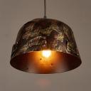Metal Bell Shape Pendant Lighting Single Light Antique Hanging Light in Rust for Bar Kitchen
