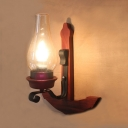 Single Light Curved Wall Light Antique Metal and Clear Glass Sconce Light for Hallway Foyer