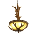 Resin and Glass Pendant Light Rustic Style Deer Horn Decoration and White Domed Shade Ceiling Pendant