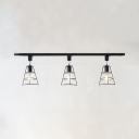 Industrial Wire Frame Semi Flush Light 3 Lights Metal Ceiling Light in Black/White for Bar