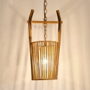 Beige Bucket Shape Ceiling Fixture Single Light Rustic Style Bamboo Ceiling Light for Kitchen Foyer