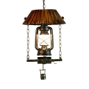 Kitchen Kerosene Hanging Lamp Wood and Metal Single Light Vintage Style Ceiling Fixture in Bronze