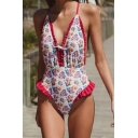 New Stylish Floral Printed Chic Ruffled Hem Plunged Neck Red One Piece Swimsuit Swimwear