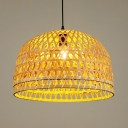 Coffee/Wood Dome Shape Ceiling Light Fixture Single Light Rustic Rattan Pendant Light for Kitchen