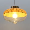 Schoolhouse/Vase Shape Pendant Lighting Single Light Rattan and Clear Glass Rustic Style Pendant Lighting