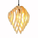 Beige Teardrop Pendant Light Single Light Antique Style Bamboo Ceiling Fixture for Restaurant Bar