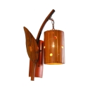Vintage Style Wood Wall Lamp with Cylinder Shape Single Light Bamboo Wall Sconce for Bedroom Hallway