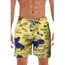 Cool Letter MRSOS Cartoon Dog Cat Printed Drawstring Waist Yellow Beach Shorts Swim Trunks