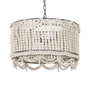 Rustic Style Drum Chandelier Wooden Beads and Metal 3 Lights White/Blue/Pink Pendant Lighting for Foyer
