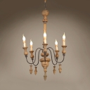 Vintage Style Candle Shape Chandelier Wood 5 Lights Hanging Light Fixture for Living Room Hallway