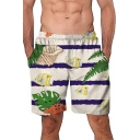 Summer New Trendy Fish Printed White Loose Fit Mens Swim Trunks