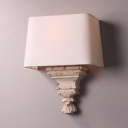 Vintage Style Wall Sconce Wood and Fabric Single Light White Wall Light for Bedroom Hallway