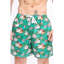 Trendy Allover Green Floral Printed Drawstring Waist Mens Quick Drying Beach Swim Shorts