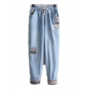 Girls Lovely Applique Drawstring Waist Rolled Cuff Light Blue Loose Fit Jeans