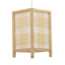 Porch Rectangular Pendant Lighting Fixture Wood Vintage Style Beige Hanging Light