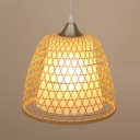 Bell Shape Ceiling Light Rattan and Acrylic Single Light Rustic Style Ceiling Fixture for Bedroom Foyer