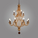 Candle Shape Chandelier Rope and Metal 12 Lights Vintage Style Pendant Lighting for Dining Room