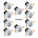 (10 Pack)7W LED Light Fixture Recessed Dining Room Gallery Angle Adjustable Ceiling Light Recessed in White/Warm White/Neutral