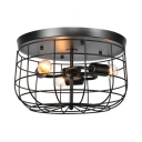 Metal Cage Flush Light Hallway Triple Light Industrial Rustic Ceiling Light in Black