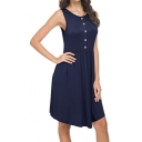 Summer Solid Color Round Neck Button Front Casual Midi A-Line Tank Dress