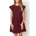 Women's Solid Color Chic Ruffle Sleeve Round Neck Hollow Out Mini A-Line Dress