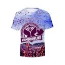 TomorrowLand Music Festival Fashion 3D Print Purple Short Sleeve T-Shirt