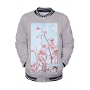 New Trendy Floral Pattern Rib Stand Collar Button Down Grey Baseball Jacket