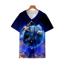 Hot Fashion Blue Earth Printed V-Neck Short Sleeve Button Front Casual Baseball Shirt
